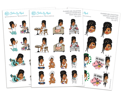 Tanya With Locs - Sampler Sticker Pack - Planner Girl Collection