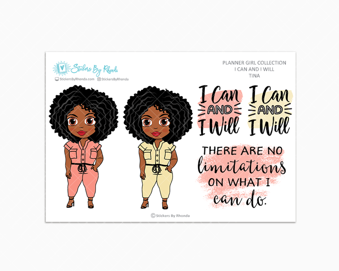 Tina - I Can and I Will - Limited Edition - Quote Stickers - Planner Girl Collection - Planner Stickers