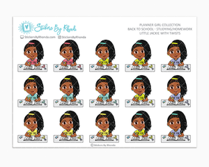 Little Jackie With Twists - Homework Study  - Back To School Stickers - Girl Stickers