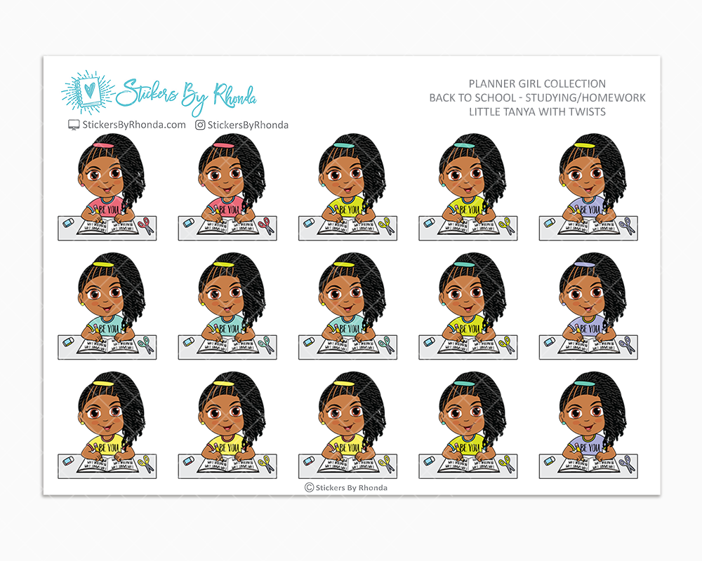 Little Tanya With Twists - Homework Study  - Back To School Stickers - Girl Stickers