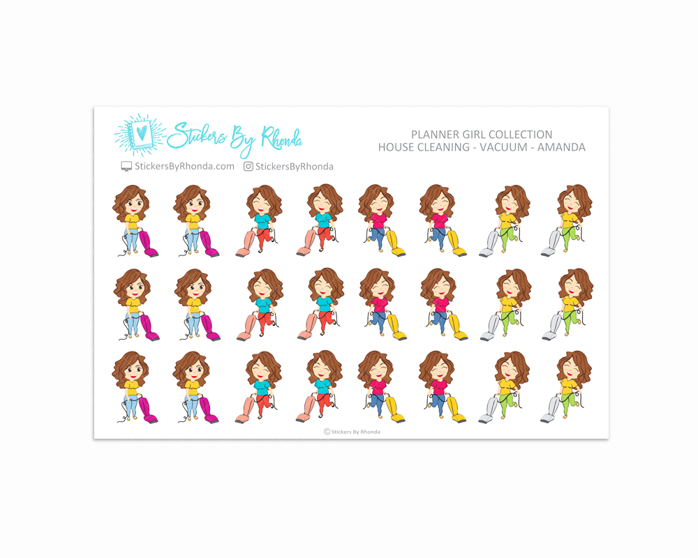 House Cleaning Planner Stickers - Vacuum - Amanda