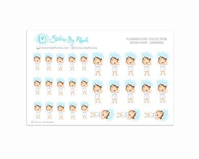Wash Hair Planner Stickers - Amanda