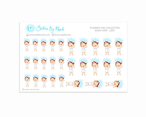 Wash Hair Planner Stickers - Lizzy
