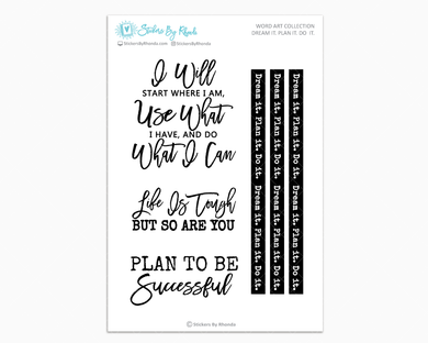 Dream It. Plan It. Do It. - Motivational Planner Stickers - Word Art Collection