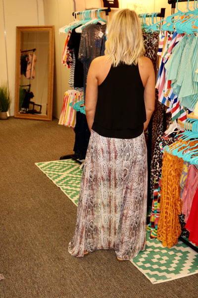 Snake Print High-Low Skirt