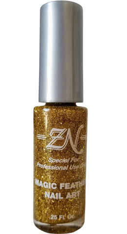 Magic Feather Nail Art - Gold Glitter - Tru-Form Nails & Cosmetics