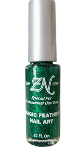 Magic Feather Nail Art - Green Glitter - Tru-Form Nails & Cosmetics