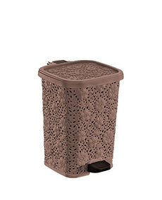 Superio Compact Trash Can, Lace Style, 6 Qt. (Brown) Brown