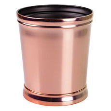 mDesign Decorative Round Small Trash Can Wastebasket, Garbage Container Bin for Bathrooms, Powder Rooms, Kitchens, Home Offices - Durable Steel in Rose Gold Finish and Black Interior