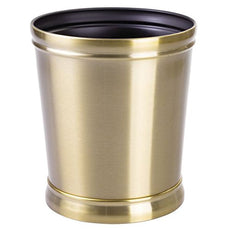 mDesign Decorative Round Small Trash Can Wastebasket, Garbage Container Bin for Bathrooms, Powder Rooms, Kitchens, Home Offices - Durable Steel in Soft Brass Finish and Black Interior