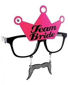 Sunstaches Team Bride Black Frame and Pink Crown with Black Print Sunglasses, Instant Costume, Party Favors, UV400