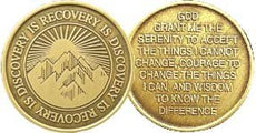 Recovery Is Discovery with the Serenity Prayer - Bronze Medallion