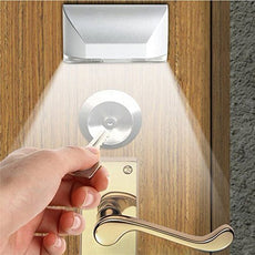 LENMO Keyhole Light Lamp Battery Operated PIR Infrared Wireless Auto Sensor Motion Detector Door Keyhole with 4 LED Light Lamp Tap Lights LED Night Light for Key Hole/Door Lock White