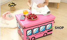 eSTAR School Bus Kids Folding Storage Ottomans Bin Toy Box Clothes Books Nursery Bedroom (Pink School Bus) Pink School Bus