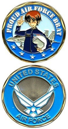 "United States Military US Armed Forces Air Force ""Proud Brat"" - Good Luck Double Sided Collectible Challenge Pewter Coin"