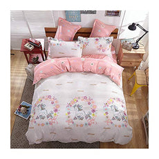 "KFZ Girls Magic Unicorn Bed Set Twin Full Queen and Standard Sizes, 1 Duvet Cover (Without Comforter Insert) and 2 Pillow Cases (Magic Unicorn, Pink, Twin 60""x80"" 3pcs) Magic Unicorn, Pink"