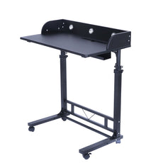 Height Adjustable Rolling Laptop Desk Table Computer Desk for Writing Reading and More Poarmeey (black) Black