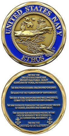 United States Military US Armed Forces Navy Ethos Creedo - Good Luck Double Sided Collectible Challenge Pewter Coin