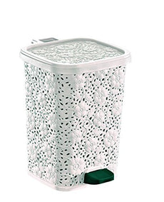 Superio Lace Design Trash Can 12.6 Qt. (White) White