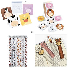 60 FARM ANIMAL Party Favors - 12 Pencils 12 NOTEPADS 12 Bookmarks & 24 STICKERS Birthday PARTIES Barnyard PIG COW CHICKEN