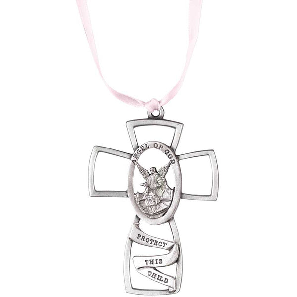 Baptism Blue Child Of God Customizable Snowflake Pewter: Protect This Child Girl Angel Of God 3 Inch Pewter Hanging