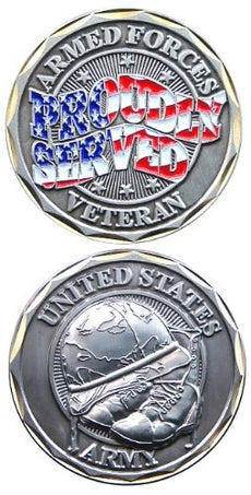 "United States US Army Armed Forces ""Proudly Served"" Veteran w/ Boots & Helmet - Good Luck Double Sided Collectible Challenge Coin"
