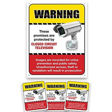 24 Hour Camra Warning Sign & Decals. Prevent Theft, Vandalism and Loitering by Displaying Video Camera Surveillance Signs.
