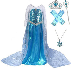 Romy's Collection Snow Queen Sequin Long Cape Princess Party Dress w/accessories Blue 7-8