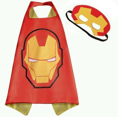 Superhero Cape and Mask Costume Set Boys Girls Birthday Play Dress up Iron Man