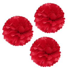 "Unique Industries 16"" Poms Large Fluffy Pom Pom Hanging Decorations Tissue Paper Pom Flowers For Celebrate Decoration Fluffy Hanging Lantern Party/Wedding Blooms Ball (Red 3ct) Red 3ct"