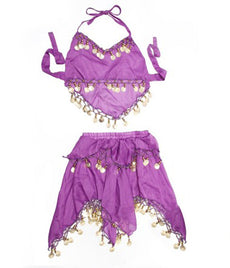 BellyLady Kid's Belly Dance Costume, Purple Skirt & Halter Top Sets