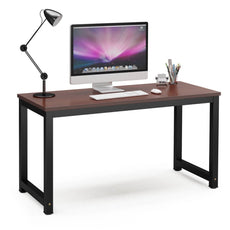 "Tribesigns Computer Desk, 55"" Large Office Desk Computer Table Study Writing Desk for Home Office, Teak + Black Leg 55*23.6 inch"