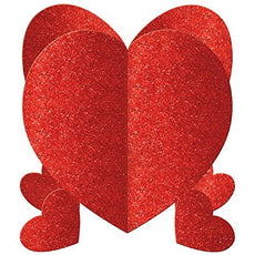 "Radiant Valentine's Day Party Mini 3-D Hearts Table Centerpiece Decoration, Red, Cardboard , 5"", Pack of 3"