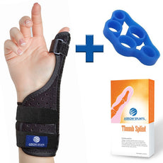 Thumb Brace for Arthritis, Trigger Thumb, Carpal Tunnel, Thumb Stabilizer, Tendonitis, CMC - Thumb Spica Splint is Reversible to fit Right & Left Hand Thumb Splint + Thumb Strengthening Exerciser
