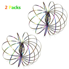 2 Pack Flow Rings Kinetic Spring Toy - Multi Sensory Interactive 3D Shaped Stainless Steel Rainbow Magical Ring Toy for Kids