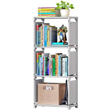 4 Tiers Nonwoven Fabric Kids Bookshelf Shelf Bookcase Small Waterproof Home Furniture Children Books Closet Storage - 16.54 x 10.24 x 37''(L x W x H) Silver Gray