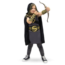 Ace Archer Kids Halloween Costume Hooded Huntress Dress Up Role Play Cosplay Youth Small (3-4)
