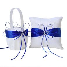 Amajoy 2pcs Wedding Set White Satin and Royal Blue Flower Girl Basket and Ring Pillow Set with Double Heart Rhinestone Decor