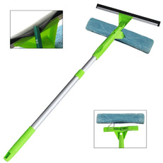 Squeegee Window Cleaner All-Purpose Squeegee Scrubber and Detachable Microfiber Pad Can Used Separately with Aluminum Alloy Extension Pole