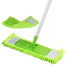 GLOYY Microfiber Hardwood Floor Mop - 2 Reusable Flat Mop Pads and Extension Included, For Wet or Dry Floor Cleaning