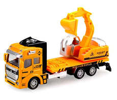 Hehy Digger Car Toy, Friction Powered Truck Metal Construction Vehicle Toy Alloy Diecast Excavator Pull Back Car for Boy Girl Kids Children Gift 3+ (Digger)