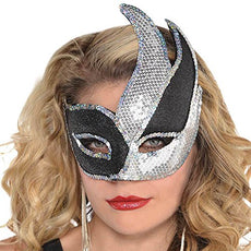 Silver Sequin Black Swish Mask - Costume Accessory