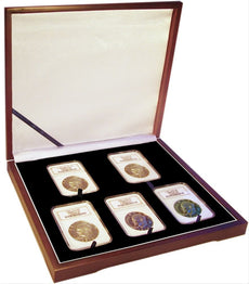 Display box for five NGC/PCGS/Premier/Lil Bear Elite Coin Slab Mahogany Matte Finish