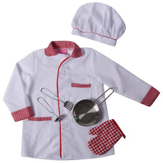 Making Believe Kids Chef Pretend Play Set - Jacket, Hat & Frying Pan Set (Choose Size) White/Red 2/4