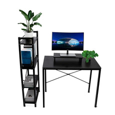 LASUAVY Computer Desk with Shelves, Multipurpose Study Desk with Bookshelf, Writing Desk with 4 Tier Bookcase for Home Office