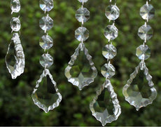 HoHoDeal 30pcs Clear Plastic Acrylic Maple Leaf Prisms Wedding Garland Chandelier Hanging Pandent Party Decoration