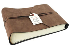 LEATHERKIND Viaggio Small Tan Handmade Recycled Leather Wrap Photo Album, Classic Style Pages (16cm x 22cm x 6cm)