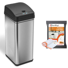 iTouchless Automatic Trash Can with 10 Trash Bags, Big Lid Opening Touchless Sensor Kitchen Trash Bin, 13 Gallon, Stainless Steel Trash Can Bundle w/ 10 Trash Bags
