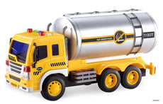 Memtes Friction Powered Oil Tanker Truck Toy with Lights and Sounds for Kids