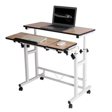 Mobile Stand Computer Workstation Rolling Adjustable Computer Laptop Desk Corner Desk from Poarmeey (white) White